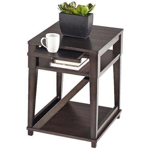 Progressive Furniture Consort Oak Veneer Chairside Table with Pull Out Shelf and Magazine Shelf