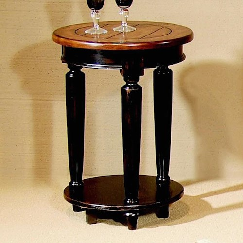 Progressive Furniture Country Vista Two-Tone Round End Table with Plank Effect Top & Turned Legs
