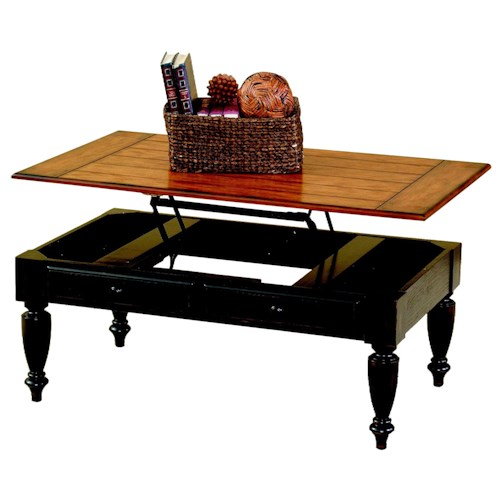 Progressive Furniture Country Vista Lift-Top Two-Tone Table with Plank Effect Top & Turned Legs