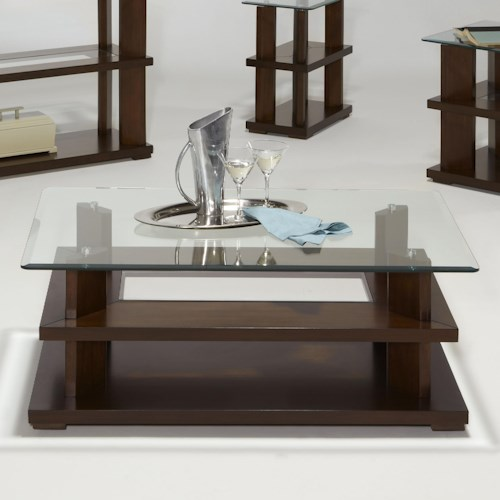 Progressive Furniture Delfino Contemporary Glass Top Rectangular Cocktail Table with Casters