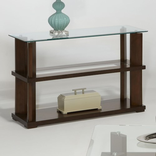 Progressive Furniture Delfino Contemporary Sofa/Console Table with Glass Top