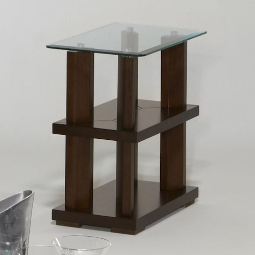Progressive Furniture Delfino Contemporary Chairside Table with Glass Top