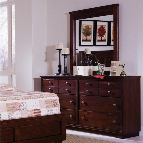 Progressive Furniture Diego Drawer Dresser & Vertical Mirror