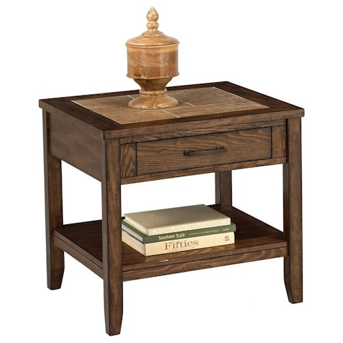 Progressive Furniture Forest Brook Rectangular End Table with Ceramic Tile Top