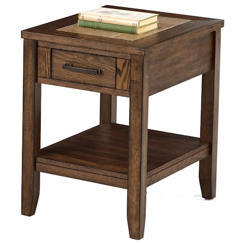 Progressive Furniture Forest Brook Chairside Table with Ceramic Tile Top