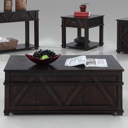 Progressive Furniture Foxcroft Rustic Castered Storage Chest Cocktail Table