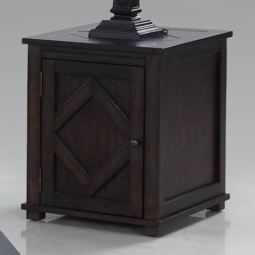 Progressive Furniture Foxcroft Rustic Chairside Cabinet Table with Diamond Shape Motif