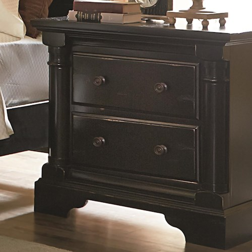 Progressive Furniture Gramercy Park Traditional Night Stand with Bronze Hardware Knobs and Scalloped Bracket Foot Base
