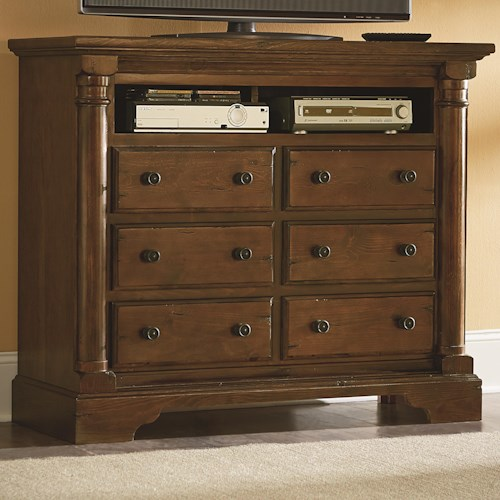 Progressive Furniture Gramercy Park Traditional Media Chest with 6 Drawers and Scalloped Bracket Foot Base
