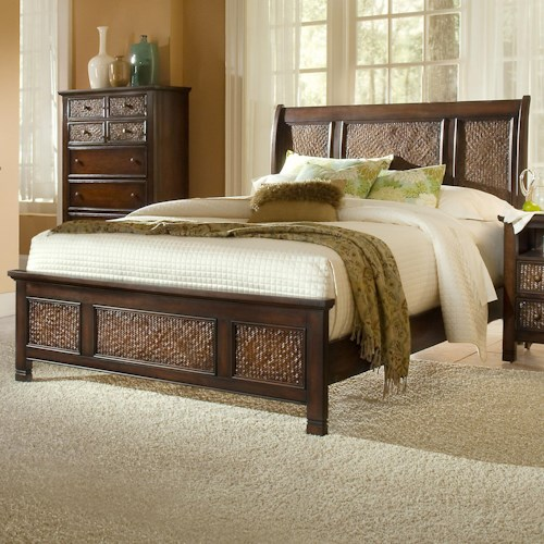 Progressive Furniture Kingston Isle King Platform Bed with Sleigh Headboard and Woven Rattan Detail
