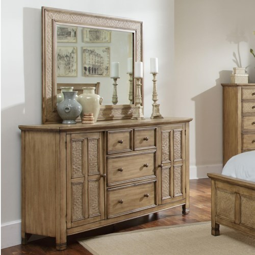 Progressive Furniture Kingston Isle 2 Door and 4 Drawer Dresser with Mirror Set