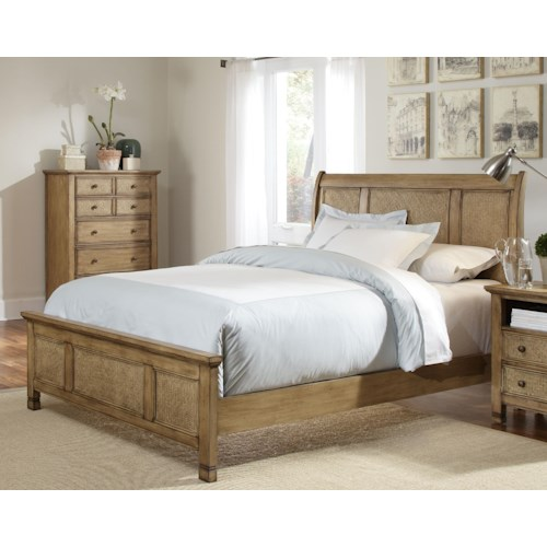 Progressive Furniture Kingston Isle Queen Platform Bed with Sleigh Headboard and Woven Rattan Detail