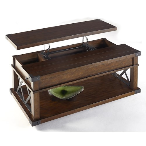 Progressive Furniture Landmark Industrial Castered Lift-Top Cocktail Table with X-Shaped Metal Motifs