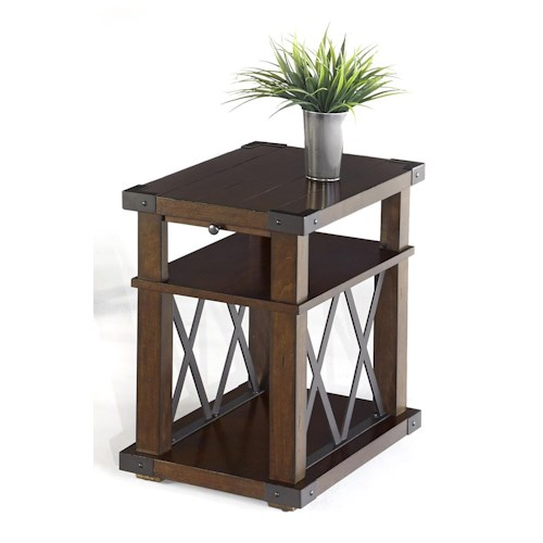 Progressive Furniture Landmark Industrial Chairside Table with X-Shaped Metal Motifs