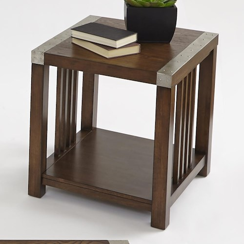 Progressive Furniture Mason Hills Rectangular End Table with Ash Veneer & Industrial Metal Accents