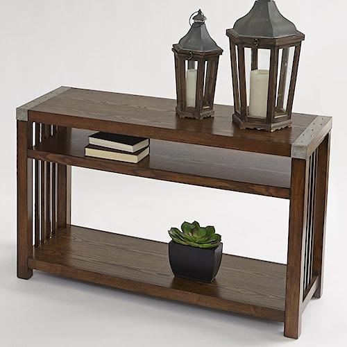 Progressive Furniture Mason Hills Sofa/Console Table with Ash Veneers & Industrial Metal Accents