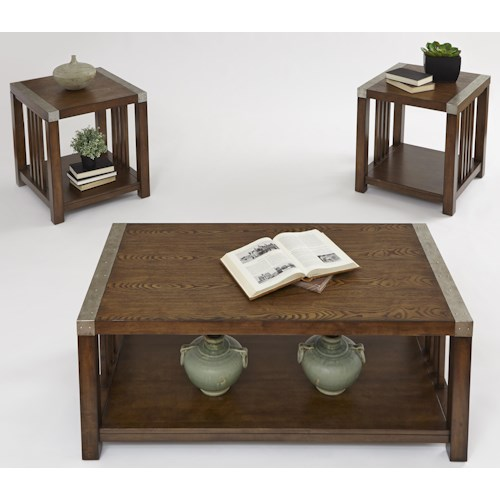 Progressive Furniture Mason Hills 3 Pack Set w/ Cocktail Table & 2 End Tables wih Ash Veneer