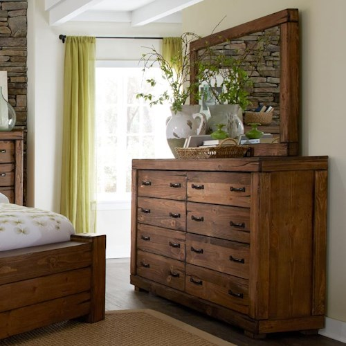 Progressive Furniture Maverick Rustic 8 Drawer Dresser & Mirror with Softened Corners and Block Feet