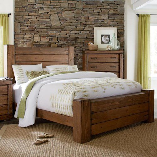 progressive furniture maverick rustic king panel bed with softened corners