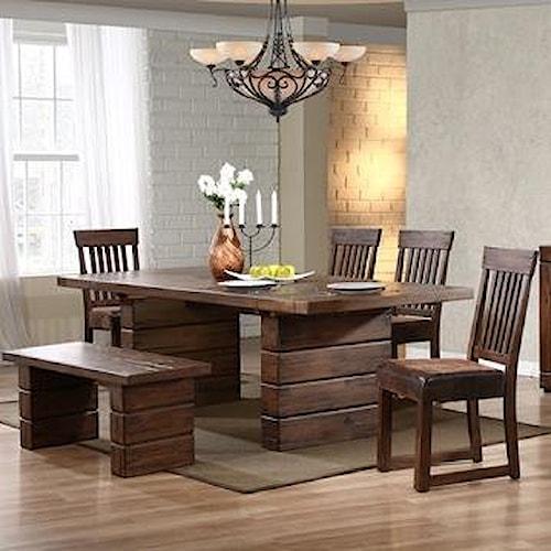 Progressive Furniture Maverick Six Piece Rustic Rectangular Table & Chair Set with Bench