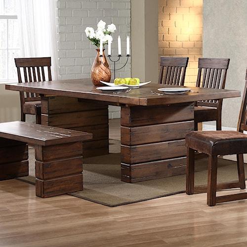 Progressive Furniture Maverick Rustic Rectagular Dining Table with Carved Pedestals