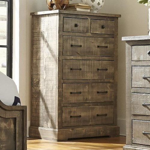 Progressive Furniture Meadow Rustic Pine Drawer Chest with 6 Drawers