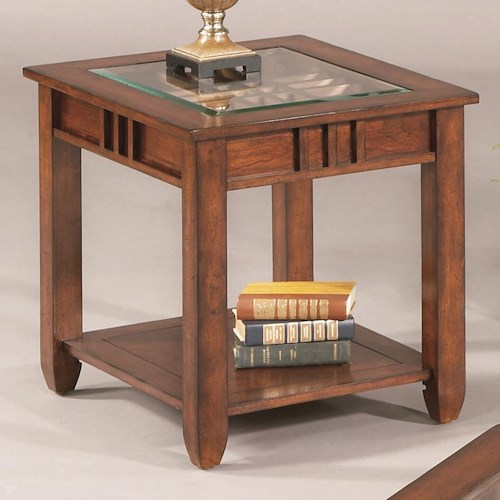 Progressive Furniture Mission Hills End Table with Glass Top