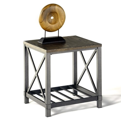 Progressive Furniture Oak Hill Industrial Rectangular End Table with Metal Base