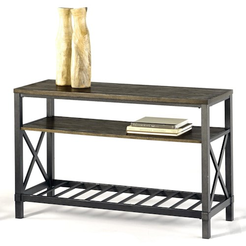 Progressive Furniture Oak Hill Industrial Sofa/Console Table with Metal Base