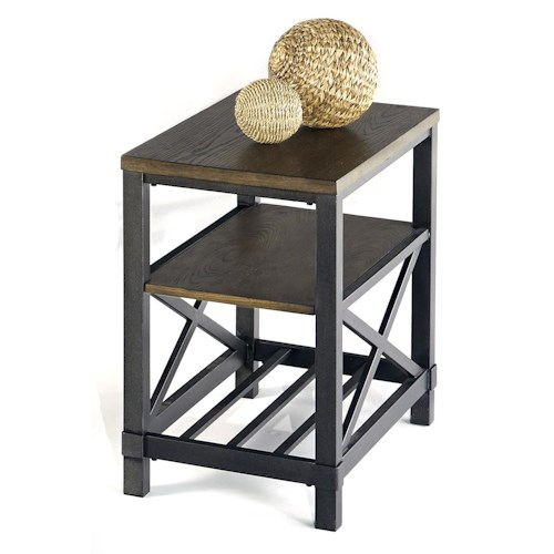 Progressive Furniture Oak Hill Industrial Chairside Table with Metal Base
