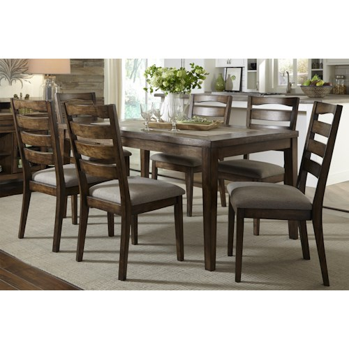 Progressive Furniture Forest Brook Dining Table with Ceramic Tile and Ash Solid Table Top