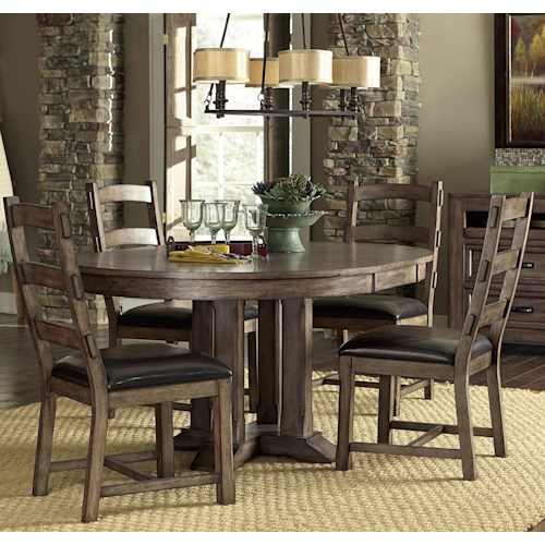 Progressive Furniture Boulder Creek 5 Piece Dining Table and Chair Set with Arts and Craft Styled Flair