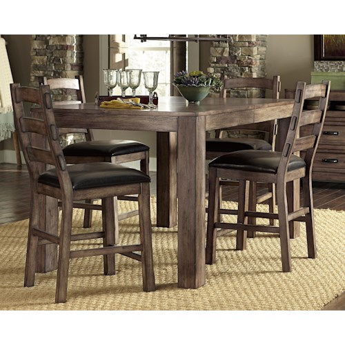 Progressive Furniture Boulder Creek Arts and Craft Styled Counter Dining Table with Solid Rubberwood Legs