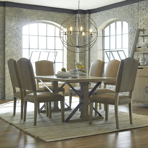 Progressive Furniture Shenandoah 7 Piece Rectangular Table and Chair Set with Metal Trestle-Styled Supporting Legs