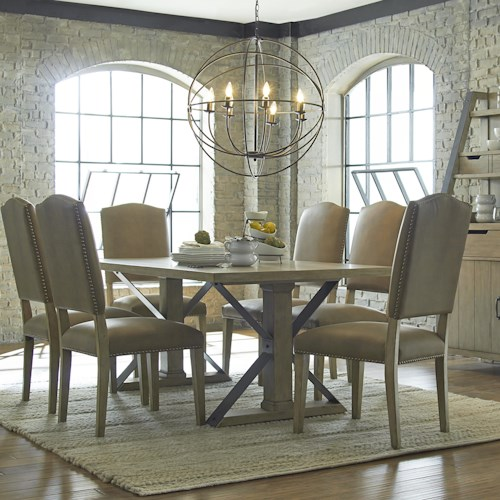 Progressive Furniture Shenandoah Rectangular Dining Table With Traditional Legs and Metal Trestle-Styled Support Stretchers