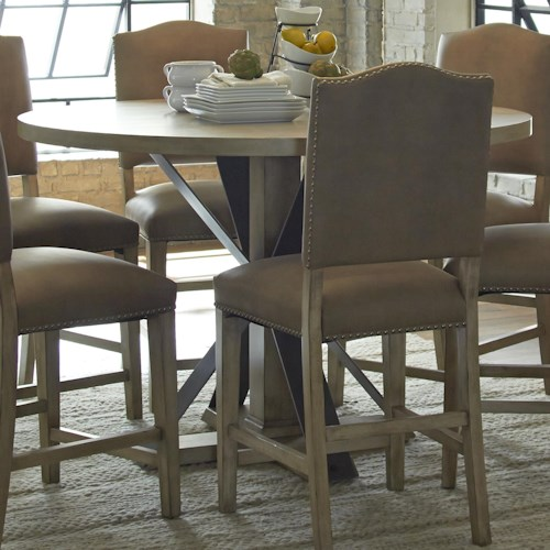 Progressive Furniture Shenandoah Round Dining Table With Traditional Pedestal and Metal Supportive Stretchers