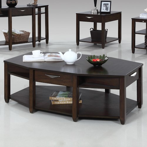 Progressive Furniture Paladium Eight Sided Castered Cocktail Table
