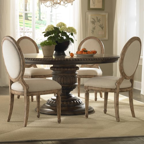 Pulaski Furniture Accentrics Home 5 Piece Daphne Table & Anthousa Side Chair Set