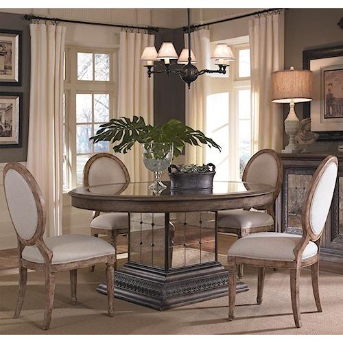 Pulaski Furniture Accentrics Home 5 Piece Aphrodite Table & Anthousa Side Chair Set