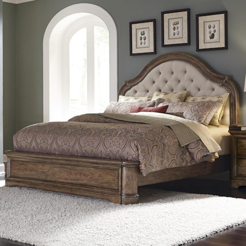 Pulaski Furniture Aurora Queen Upholstered Bed with Button Tufting and Nailhead Trim
