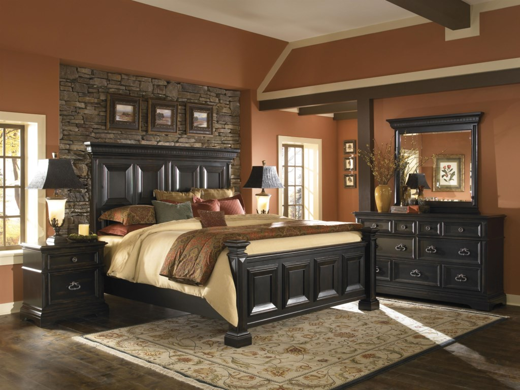 Shown Atop Dresser in Room Setting with King Panel Bed and Nightstand