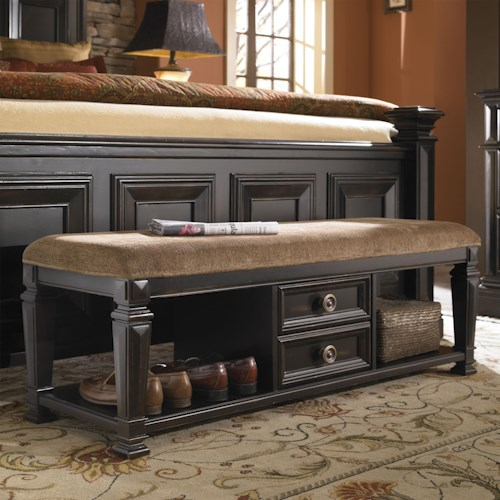 Pulaski Furniture Brookfield Bedroom Bench with Drawers and Upholstered Seat