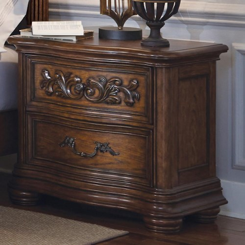 Pulaski Furniture Cheswick 2 Drawer Night Stand with Carvings on Top Drawer