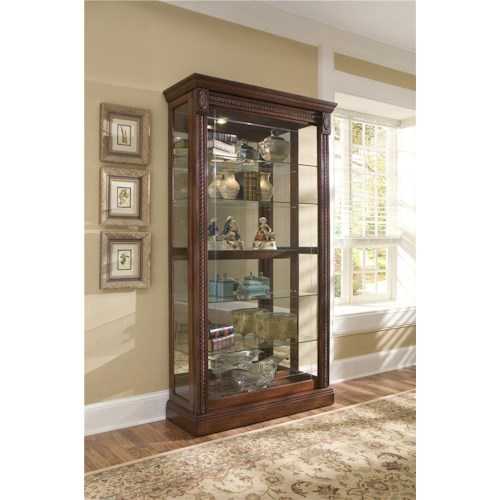 Pulaski Furniture Curios Medallion Cherry Two Way Sliding Door Curio