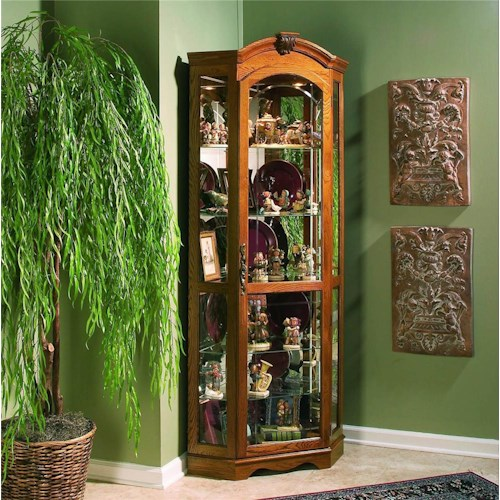Pulaski Furniture Curios Estate Oak Corner Curio