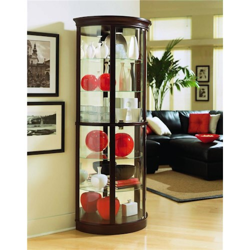 Pulaski Furniture Curios Chocolate Cherry II Half Round Curio
