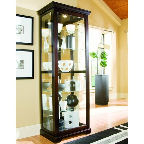 Pulaski Furniture Curios Chocolate Cherry II Two Way Sliding Door Curio