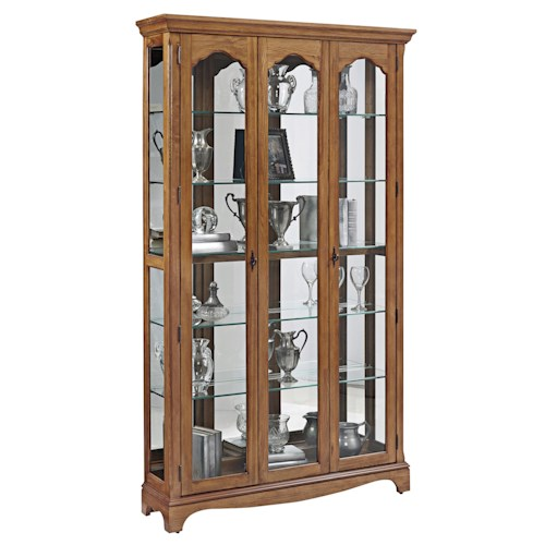 Pulaski Furniture Curios Tradtional Wide Curio w/ Glass Shelves