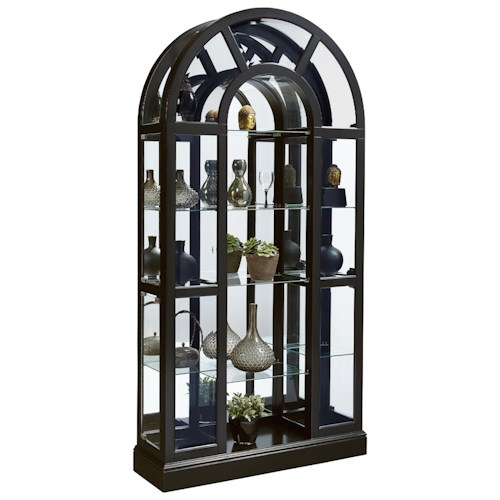 Pulaski Furniture Curios Curved Curio in Black Granite Finish