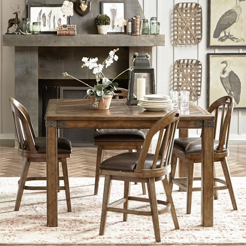 Pulaski Furniture Heartland Falls 5 Piece Gathering Table and Windsor Chair Set
